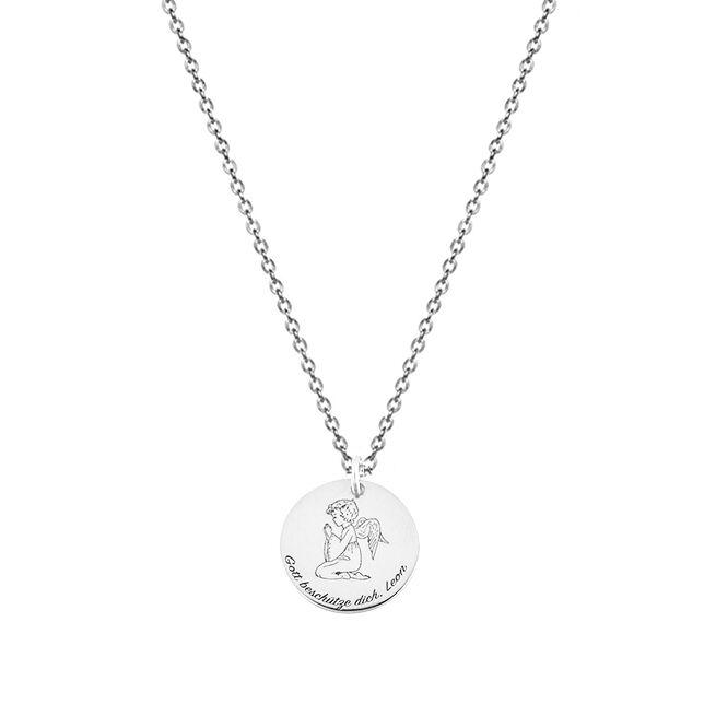 925 Sterling Silber Medallion Kette Gravur- Geschenk zur Geburt ...