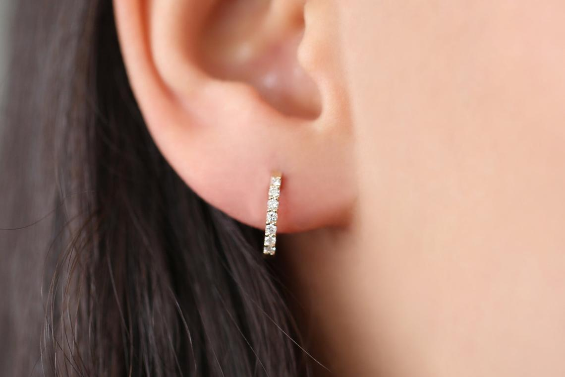 Diamant Ohrringe Creolen GRACE I 585er Roségold 0,23 Karat