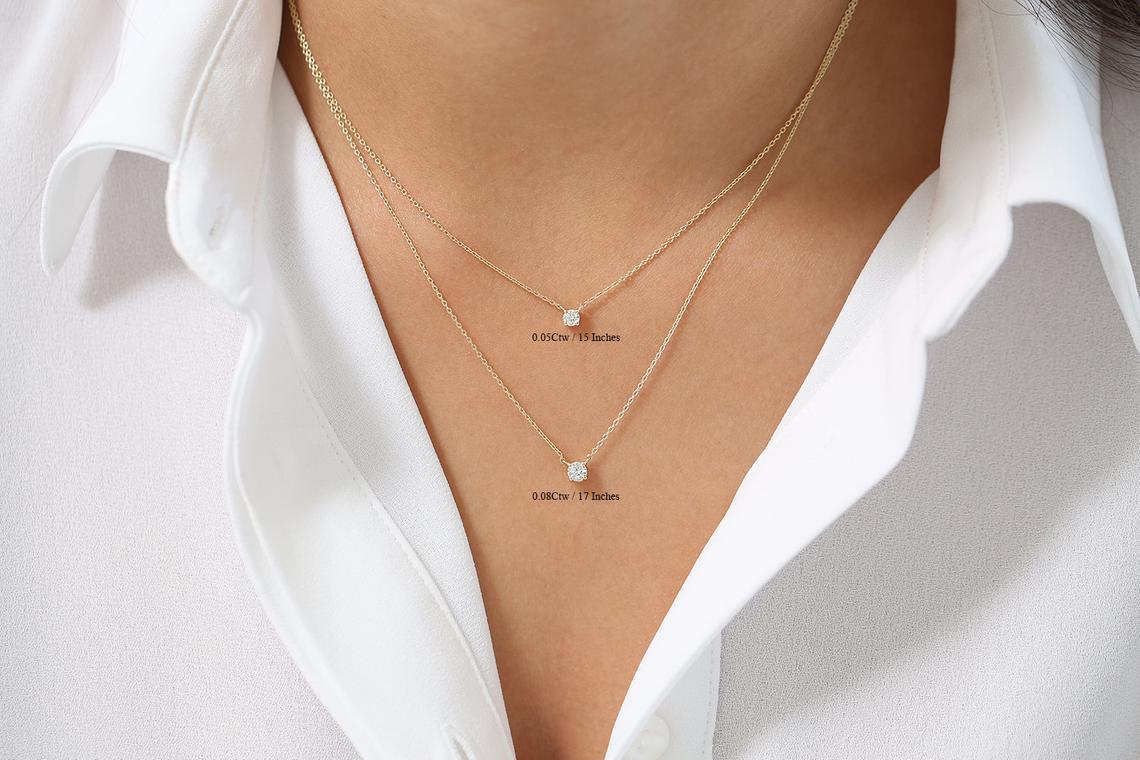 Diamant Kette CAROLIN I 585er Weißgold 0,12 Karat