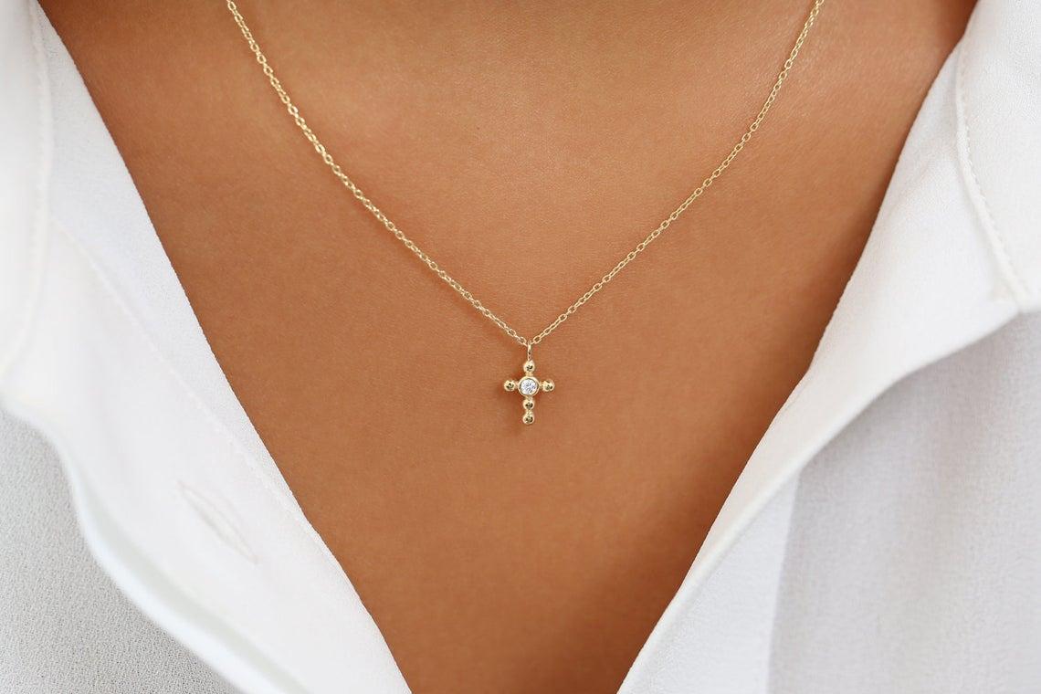 Diamant Kette CROSS I 585er Roségold 0,03 Karat