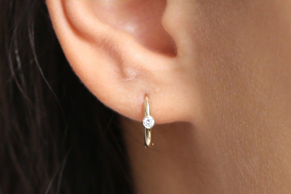 Diamant Ohrringe Creolen ELLEN I 585er Roségold 0,10 Karat