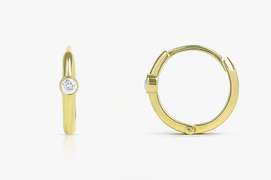 Diamant Ohrringe Creolen ELLEN I 585er Weißgold 0,10 Karat
