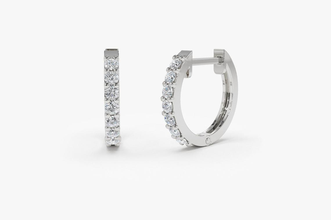 Diamant Ohrringe Creolen GRACE I 585er Weißgold 0,23 Karat