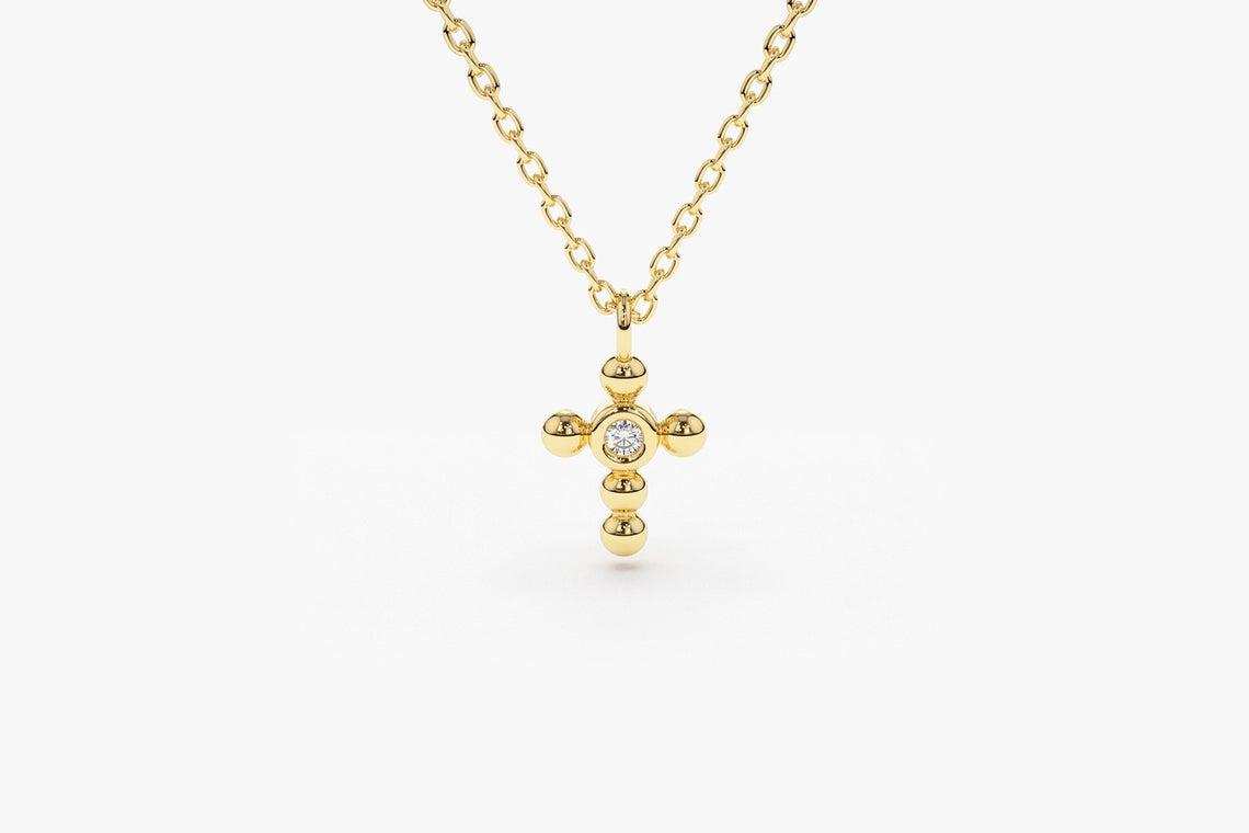 Diamant Kette CROSS I 585er Gold 0,03 Karat