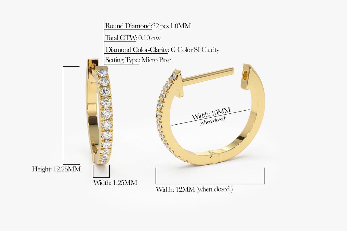 Diamant Ohrringe Creolen CARMEN I 585er Gold 0,10 Karat