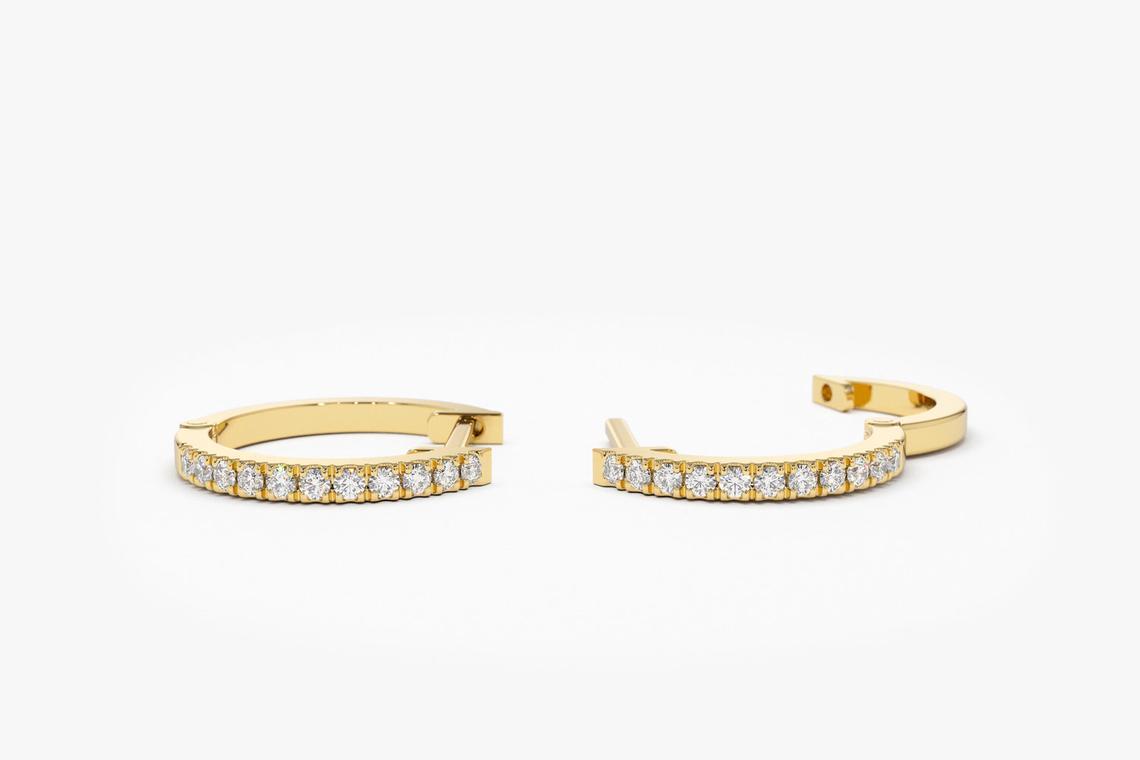 Diamant Ohrringe Creolen CARMEN I 585er Weißgold 0,10 Karat