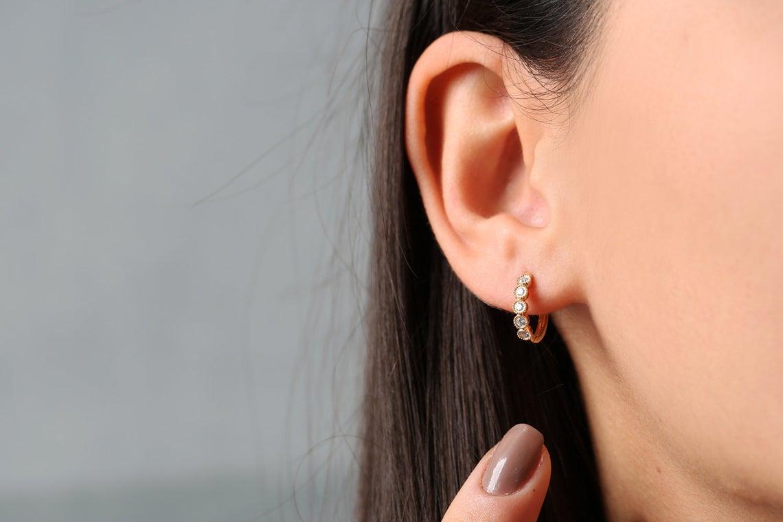 Diamant Ohrringe Creolen LUCILLE I 585er Roségold 0,30 Karat