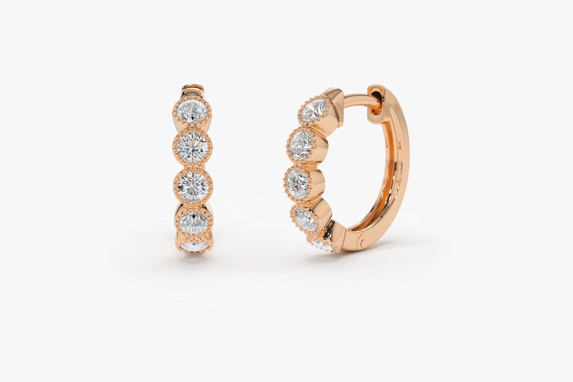 Diamant Ohrringe Creolen LUCILLE I 585er Gold 0,30 Karat