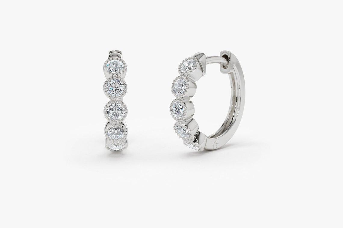 Diamant Ohrringe Creolen LUCILLE I 585er Weißgold 0,30 Karat