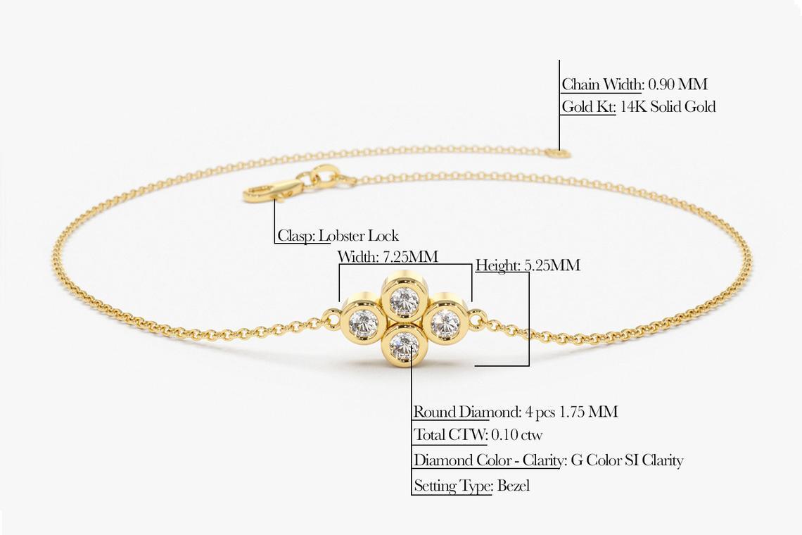 Diamant Armband MILO I 585er Weißgold 0,10 Karat